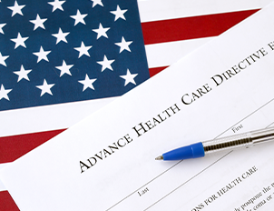Image of Advance Health Care Directive Document overlaid on an American Flag